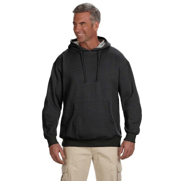 Mens Organic/Recycled Heathered Fleece Pullover Charcoal Hood (XL)