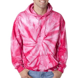 Men's Tie-Dyed Pullover Spider Pink Hood