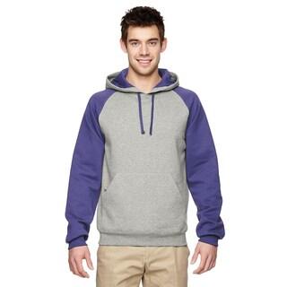 Men's 50/50 Nublend Colorblock Raglan Pullover Oxford/Deep Purple Hood (XL)