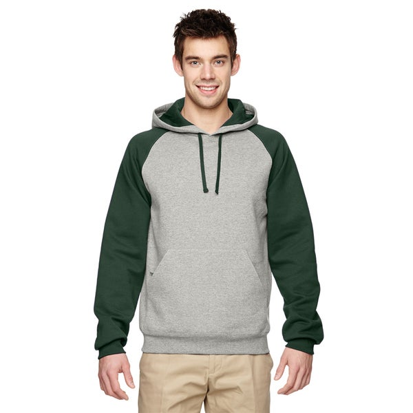 Mens 50/50 Nublend Colorblock Raglan Pullover Oxford/Forest Green Hood