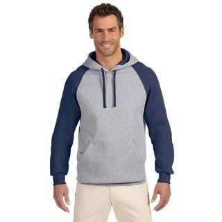 Men's 50/50 Nublend Colorblock Raglan Pullover Oxford/J Navy Hood