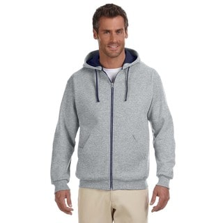 Men's 50/50 Nublend Contrast Full-Zip Oxford/J Navy Hood