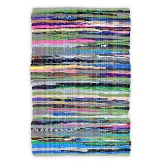 Hand-woven Celebration Chindi Multicolor Cotton Rug (1'8 x 2'6)