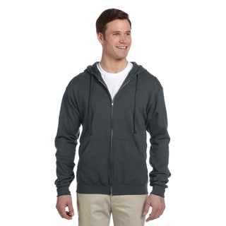 Men's 50/50 Nublend Fleece Full-Zip Black Heather Hood (XL)