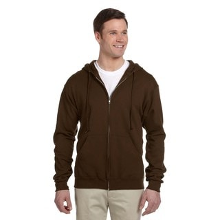Men's 50/50 Nublend Fleece Full-Zip Chocolate Hood (XL)