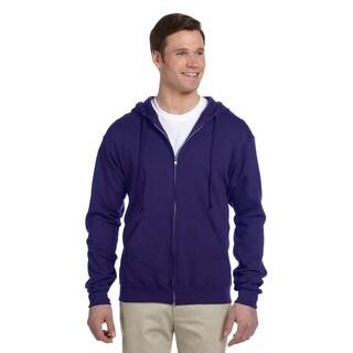Men's 50/50 Nublend Fleece Full-Zip Deep Purple Hood