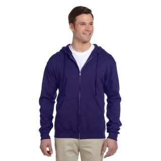 Men's 50/50 Nublend Fleece Full-Zip Deep Purple Hood (XL)