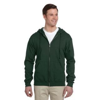 Men's 50/50 Nublend Fleece Full-Zip Forest Green Hood