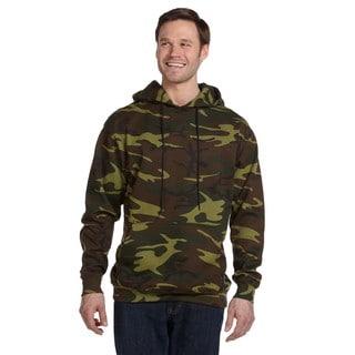 Camouflauge Men's ed Sweatshirt Green Woodland Pullover Hood (XL)