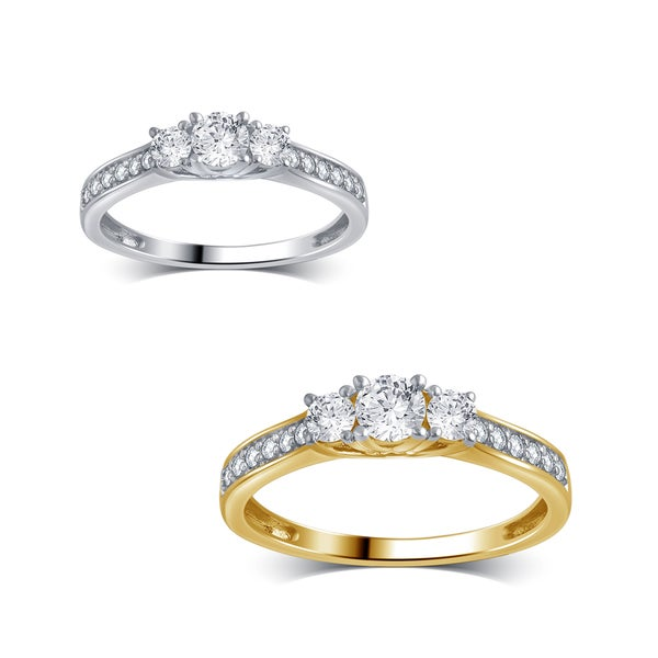 Divina 10K Gold 1/2ct TDW Diamond 3-Stone Anniversary Ring