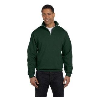 Men's Forest Green 50/50 Nublend Quarter-Zip Cadet Collar Sweatshirt