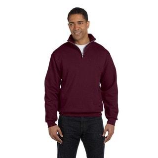 Men's Maroon 50/50 Nublend Quarter-Zip Cadet Collar Sweatshirt (XL)