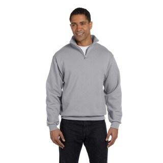 Men's 50/50 Nublend Quarter-Zip Cadet Collar Sweatshirt Oxford (XL)