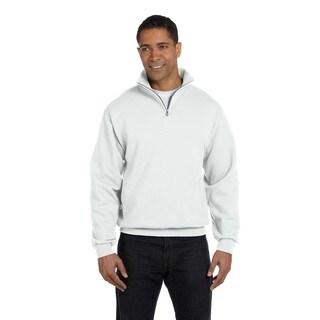 Men's White 50/50 Nublend Quarter-Zip Cadet Collar Sweatshirt