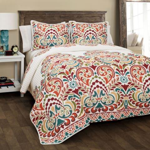 The Curated Nomad La Boheme Damask 3-piece Quilt Set