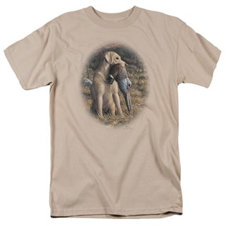 Wildlife/Yellow Lab With Pheasant Short Sleeve Adult T-Shirt 18/1 in Sand