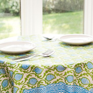 Handmade Sustainable Threads Small Tranquility Green Table Cloth (India)