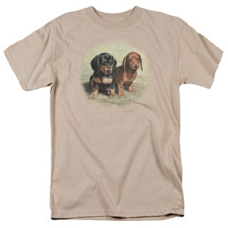 Wildlife/Dachshund Pups Short Sleeve Adult T-Shirt 18/1 in Sand