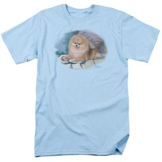 Wildlife/Pomeranian Portrait Short Sleeve Adult T-Shirt 18/1 in Light Blue