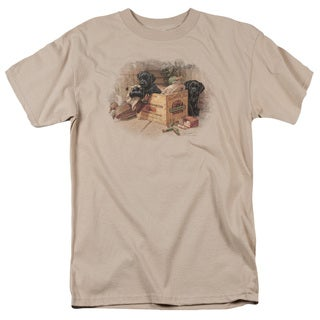Wildlife/Box Boys Black Labs Short Sleeve Adult T-Shirt 18/1 in Sand