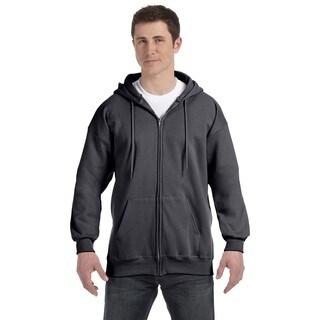 Men's Ultimate Cotton 90/10 Full-Zip Hood Charcoal Heather Pullover Hood