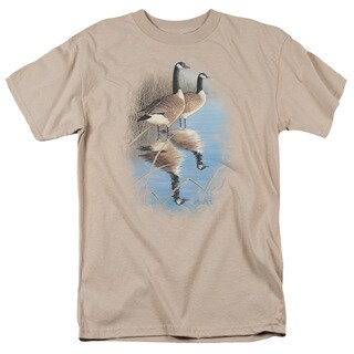 Wildlife/Morning Reflections Canada Geese Short Sleeve Adult T-Shirt 18/1 in Sand