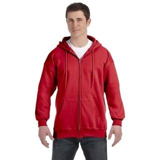 Men's Deep Red Ultimate Cotton 90/10 Full-Zip Hood