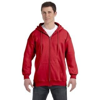 Men's Deep Red Ultimate Cotton 90/10 Full-Zip Hood (XL)