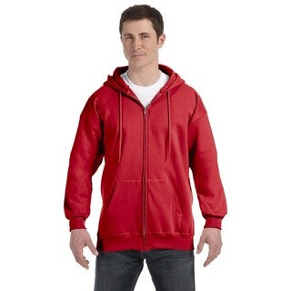 Men's Deep Red Ultimate Cotton 90/10 Full-Zip Hood (XL)