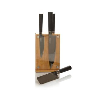 Curtis Stone 5-piece Magnetic Knife Set with Bamboo Block