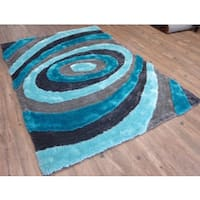 Hand-tufted Turquoise Swirls Shag Rug - 8' x 11'