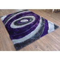 Hand-tufted Purple Swirls Shag Rug - 8' x 11'
