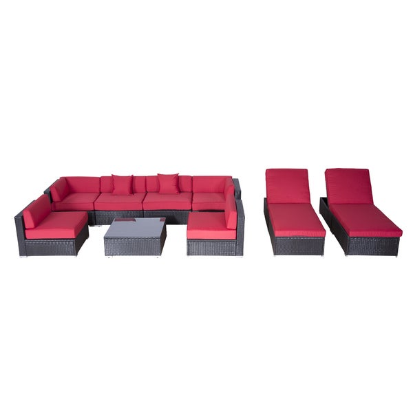 shop outsunny red cushioned rattan wicker 9 piece outdoor patio sofa sectional and chaise lounge. Black Bedroom Furniture Sets. Home Design Ideas