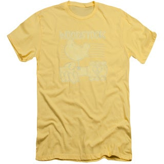 Woodstock/Liney Logo Short Sleeve Adult T-Shirt 30/1 in Banana