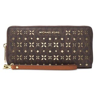 Michael Kors Jet Set Travel Large Perforated Logo Phone Case - Brown|https://ak1.ostkcdn.com/images/products/12419883/P19238087.jpg?impolicy=medium