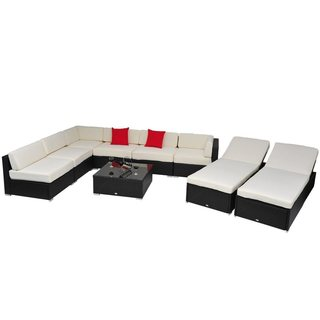 Outsunny White 9-Piece Rattan Wicker Sofa Sectional and Chaise Lounge Outdoor Patio Set