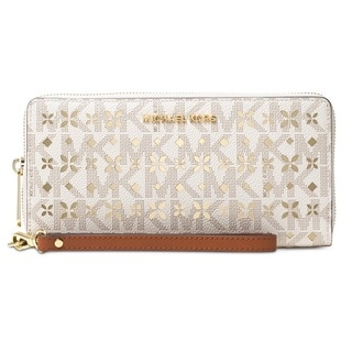 Michael Kors Jet Set Travel Large Perforated Logo Phone Case - Vanilla