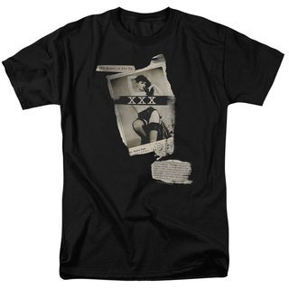 Bettie Page/Newspaper & Lace Short Sleeve Adult T-Shirt 18/1 in Black