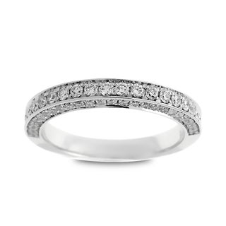Azaro Jewelry 14K White Gold 0.65ct TDW Round Diamond 3-Row Halfway Wedding Band (G-H, SI1-SI2)