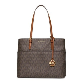 Michael Kors Bedford Brown Signature Large Pocket Tote Bag