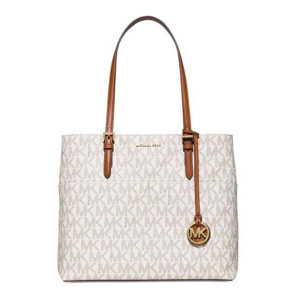 9febc8655a3c6 Shop Michael Kors Bedford Signature Large Pocket Tote Bag - On Sale ...