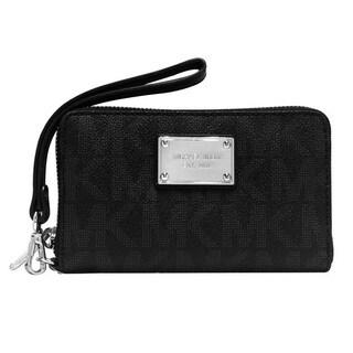 Michael Kors Jet set Large Flat Black Phone Wallet