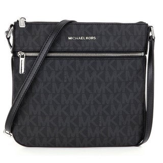 Michael Kors Bedford Black Signature Flat Crossbody Handbag