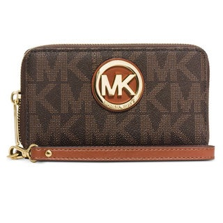 Michael Kors Brown Signature Large Flat Multi-Function Phone Case