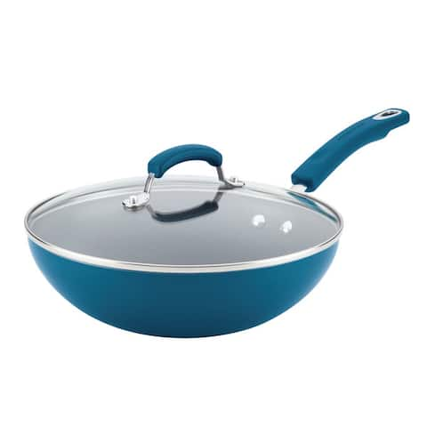 Rachael Ray Aluminum Nonstick Stir Fry Pan with Glass Lid, 11-Inch