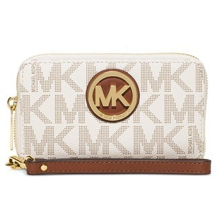 Michael Kors Vanilla Signature Large Flat Multi-Function Phone Case