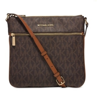 Michael Kors Bedford Brown Signautre Flat Crossbody Handbag
