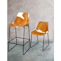Carbon Loft Bode Brown and White Hide Leather Barstool