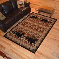 Rustic Lodge Horse Equestrian Cabin Multi Area Rug - 7'10 x 9'10