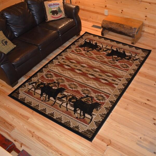 Shop Rustic Lodge Horse Equestrian Cabin Multi Area Rug